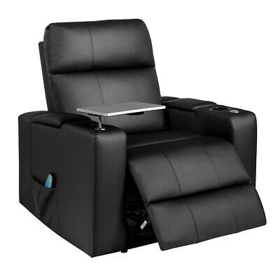 Massage Recliner Chair PU Leather Home Seating w/Swivel Tray & Remote Control