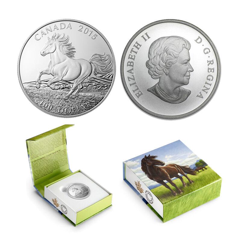 2015 $100 CANADA Horse , FINE .9999 SILVER COIN (OGP/COA)
