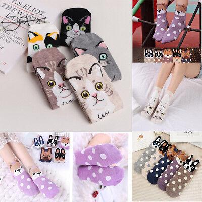 Girls Cute Cat Dog Kitten Socks Soft Cotton Comfortable Cartoon Middle Tube - Cute Easy Cartoons