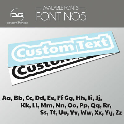 2x Outlined Custom Personalised Text Decal Stickers Name Car Bike Window Vinyl 5