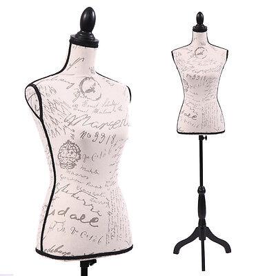 Female Mannequin Torso Dress Form Display W/ Black Tripod Stand Designer Pattern