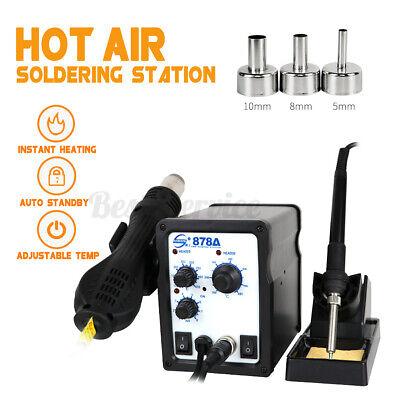 750w Soldering Rework Station Smd Iron Desoldering Hot Air Gun Tool 3 Nozzles Us
