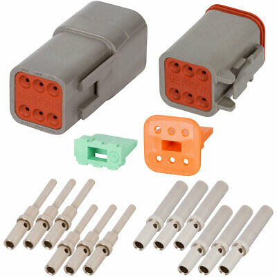 Deutsch Dt 6 Pin Gray Connector Kit W 20-16 Awg Solid Contacts