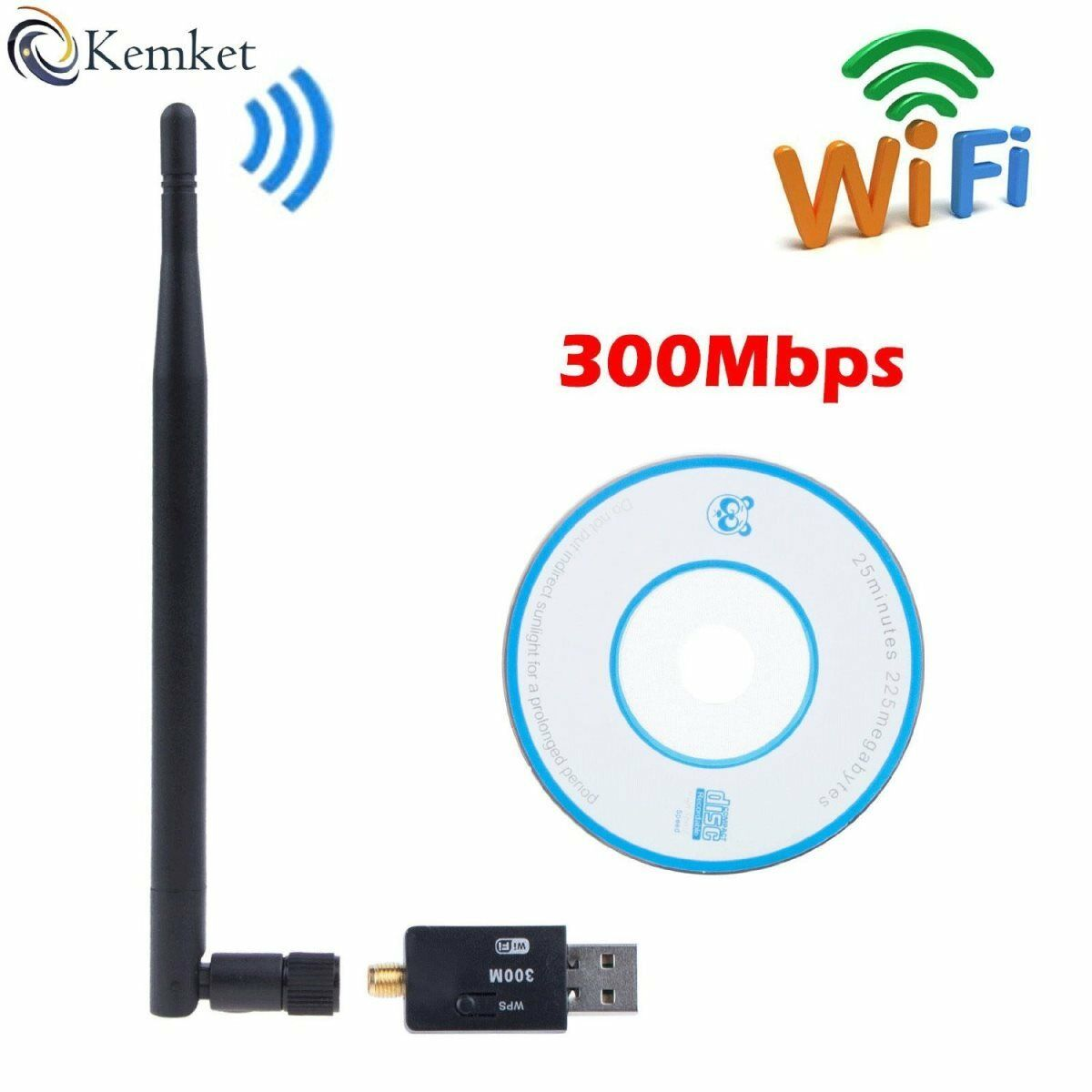 Wifi Usb Adapter- 300 Mbps With Antenna Usb 2.0 & Mini Dongle 802.iin