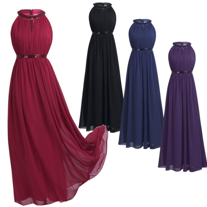 Damen Elegant festlich Kleider Lang Chiffon Hochzeit Abendkleid Cocktailkleider