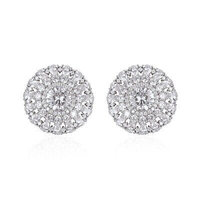 Cubic Zirconia Cluster Earrings - White Cubic Zirconia CZ Cluster Stud Solitaire Earrings Gift Jewelry for Women