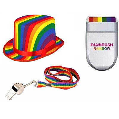 Adult Rainbow Gay Pride Festival Dress Up Instant Kit Top Hat Fan Brush - Top Gay Kostüm
