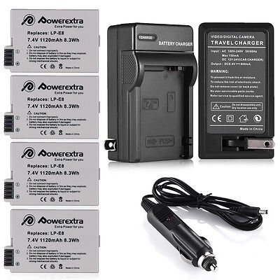 LP-E8 Battery Pack + Charger for Canon Rebel T2i T3i T4i T5i Kiss X5 EOS 550D 1