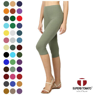 Yoga Pants - Womens Capri Leggings Knee Basic Cotton Spandex Stretch Pants Elastic High Waist
