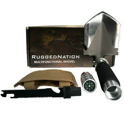 RNX Tactical Mini Stainless Steel Black Multi Function Folding Shovel & Compass Stainless Steel Folding Shovel