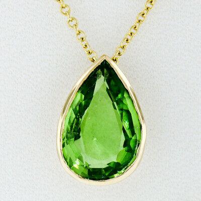 14K Gold 4.31ct Bezel Pear Teardrop Green Peridot Solitaire Pendant 18