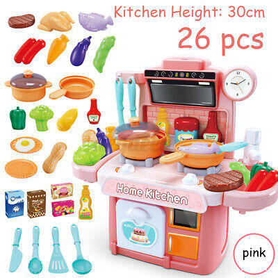 26PCS Kitchen Playset Pretend Play Toy Cooking Set With Light Sound Effect Gift