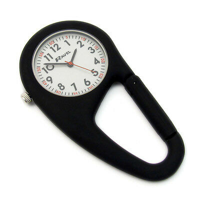 Ravel Clip-On Carabiner Watch Hiking Camping Handbag Charm Black R1105.03B