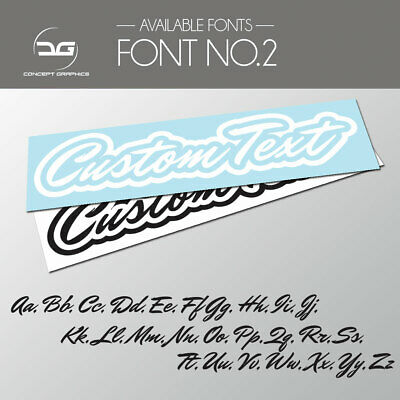 2x Outlined Custom Personalised Text Decal Stickers Name Car Bike Window Vinyl 2