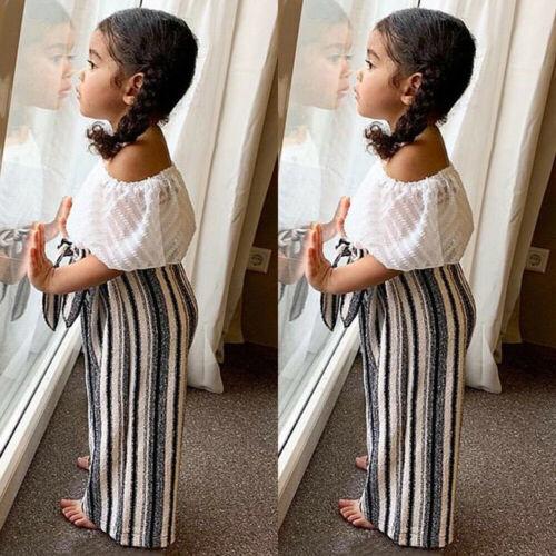 US Toddler Baby Girl Kid Off Shoulder Tops+Long Pants 2pcs S