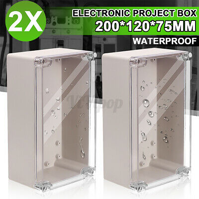 2pcs 7.87x4.7x2.95 Clear Electronic Project Box Enclosure Case Waterproof