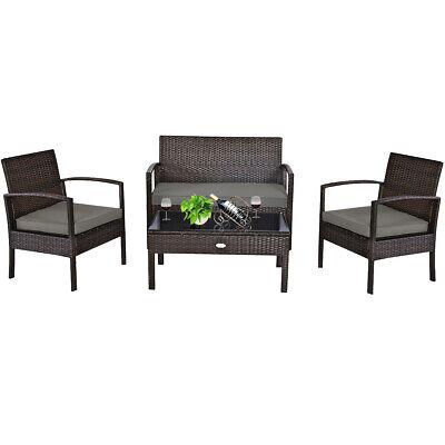 Garden Furniture - 4PCS Outdoor Patio Rattan Furniture Set Cushioned Sofa Coffee Table Garden Deck