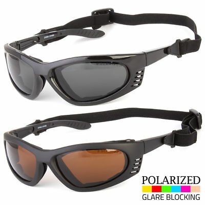 Men's POLARIZED Wind Resistant Padded Motorcycle Biker Sunglasses Strap (Sunglass Straps For Men)