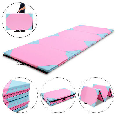 """4'x10'x2"""" Gymnastics Mat Thick Folding Panel Gym Fitness Exercise Blue & Pink"""