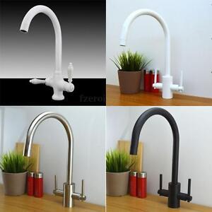 Wasserhahn Zweigriff Mischbatterie Bad Küchen Waschbecken