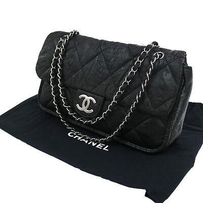 Authentic CHANEL Quilted CC Double Chain Shoulder Bag Black Canvas JT05728