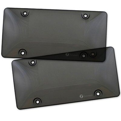 (Zone Tech 2x Bubble Tinted- Smoke License Plate Tag Frame Cover Shield Car Truck)