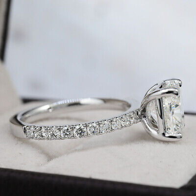 Fine 2.60 Ct Cushion Cut Diamond U-Pave Engagement Ring H, VS1 GIA Platinum 950 2