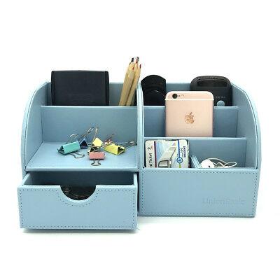 Blue Desk Organizer Box Desktop Business Card Pen Pencil Phone Storage Holder