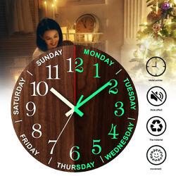 Wood Wall Clock Glow In The Dark Silent Quartz Room Luminous Night Light 11.8''