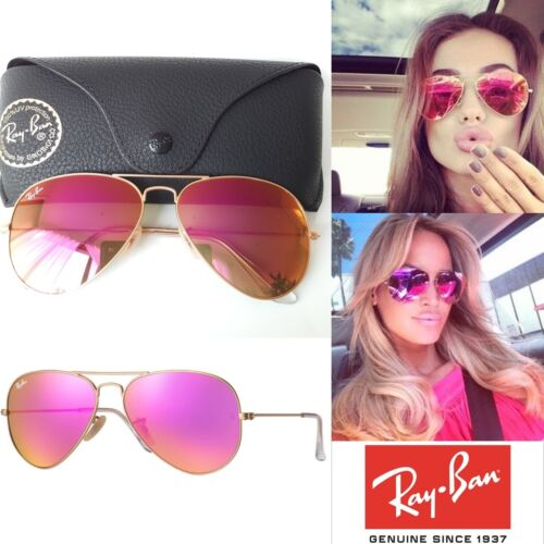 pink ray ban aviators  Genuine Ray-Ban Aviator RB3025 112/4T Pink Cyclamen Flash Mirror ...