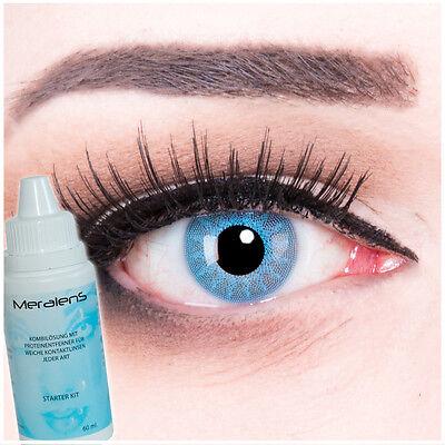 Farbige Fun Crazy Kontaktlinsen Solar Blue hellblau schwarz Halloween Fasching