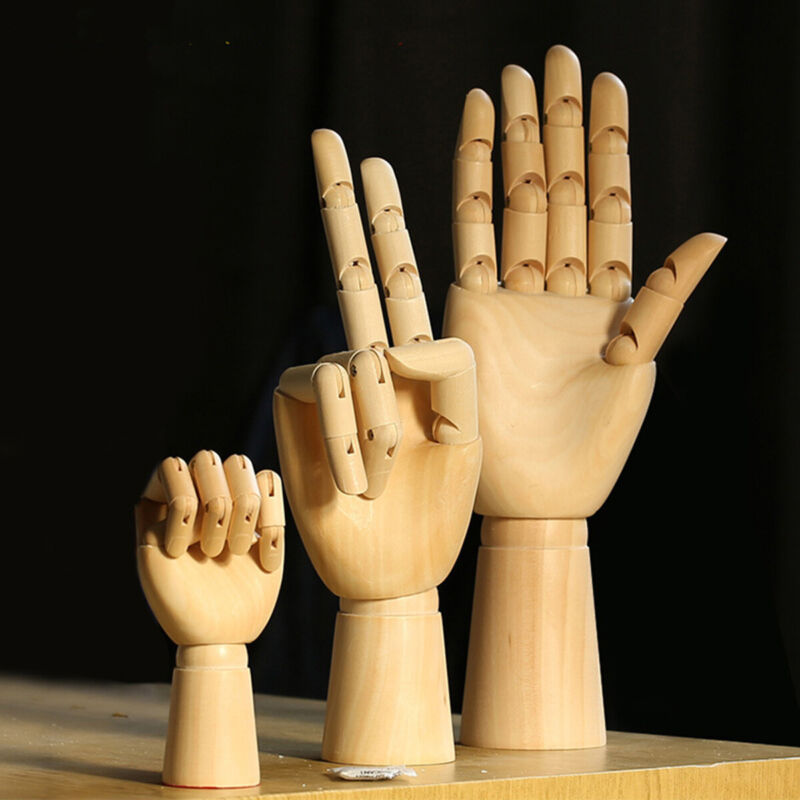 """Wooden Hands Mannequin Left Right 7"""" 9"""" 11"""" Artist Drawing Movable Finger Joints"""