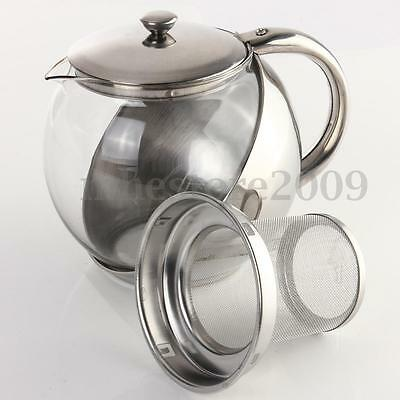 Stainless Steel Glass Teapot With Herbal Infuser Tea Leaf Fi