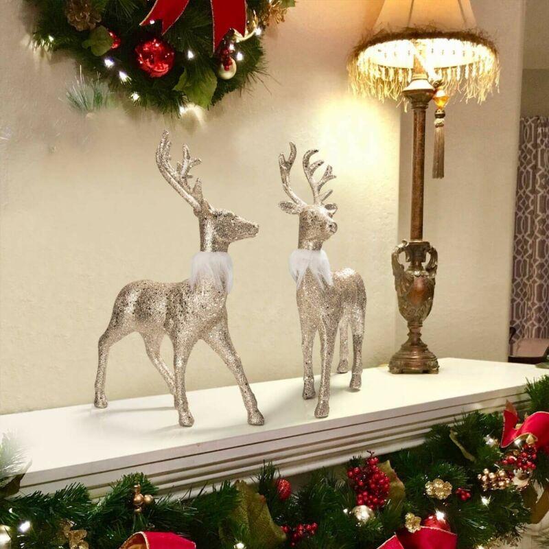 Set of 2 cristmas deer Reindeer Holiday Deer Decor Figurine