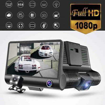 4'' HD 1080P Dual lens Car DVR Dash Cam Video Rear view Camera Recorder GPS 170°