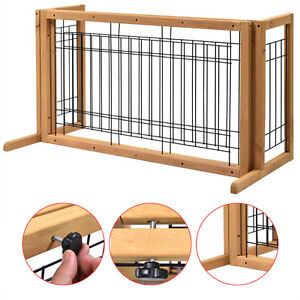 Pet Fence Gate Free Standing Adjule Dog Indoor Solid Wood Construction