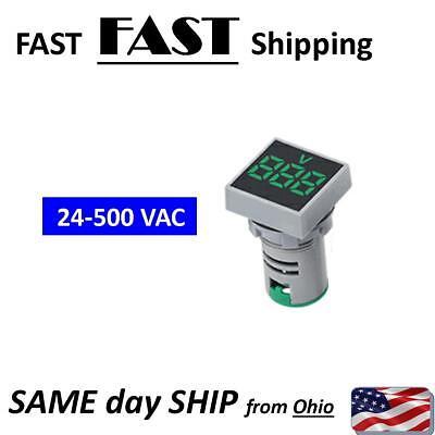 Panel Mount Ac Volt Meter - Green - Digital Ac Mater High Voltage Meter 24-500v