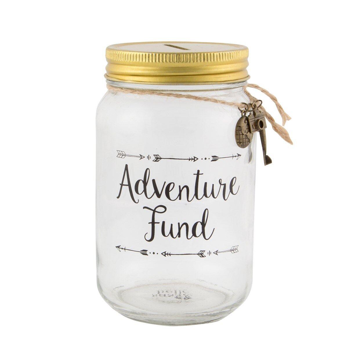 Dettagli Su Adventure Fund Vetro Trasparente Barattolo Viaggi Vacanze Risparmio Salvadanaio