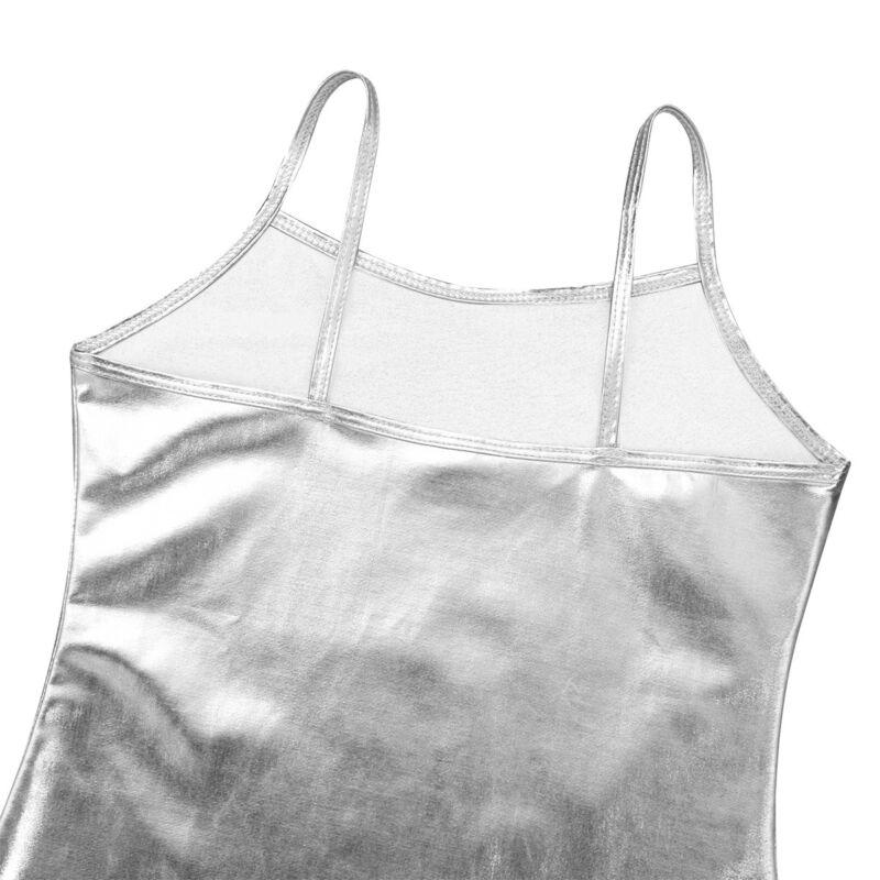 Girls Shiny Metallic Vest Spaghetti Shoulder Straps Tank Top Kids Dance Camisole