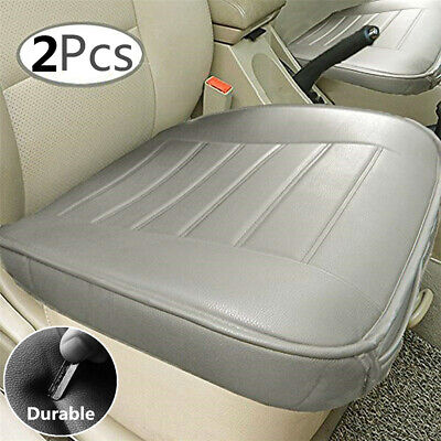 2Pcs Grey Car Front Seat Cover Breathable PU leather Pad Auto Chair Cushion Mat