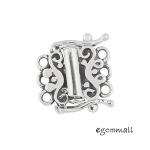 Oxidized Sterling Silver 3-Strand Tube Clasp with Secure Lock #99592