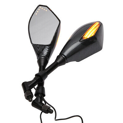 2X CARBON Motorcycle LED Turn Signal Integrated Indicator Light Rearview Mirrors