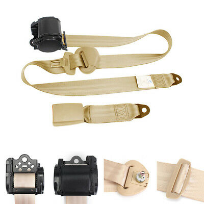 Universal 880 mm - 1370 mm adjustable 3 Point Car Safety Seat Lap Belt Set Beige