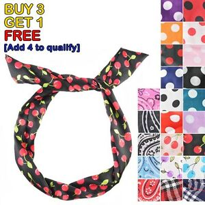 Retro-Wire-Headband-Head-Hair-Band-Wrap-Scarf-Various-Style-Dot-Floral