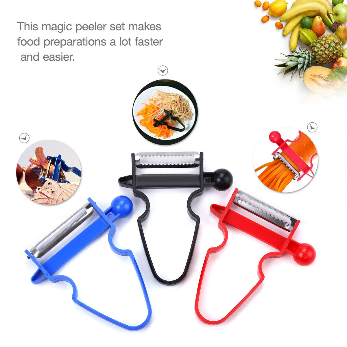 NEW 2020 Professional Magic Trio Peeler Vegetable Fruit Juli
