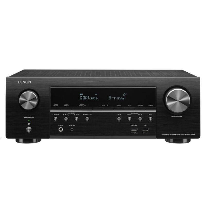 Denon AVR 1155W 7.2-Ch. Hi-Res With HEOS 4K Ultra HD HDR Compatible A/V Home Theater Receiver Black AVRS740H