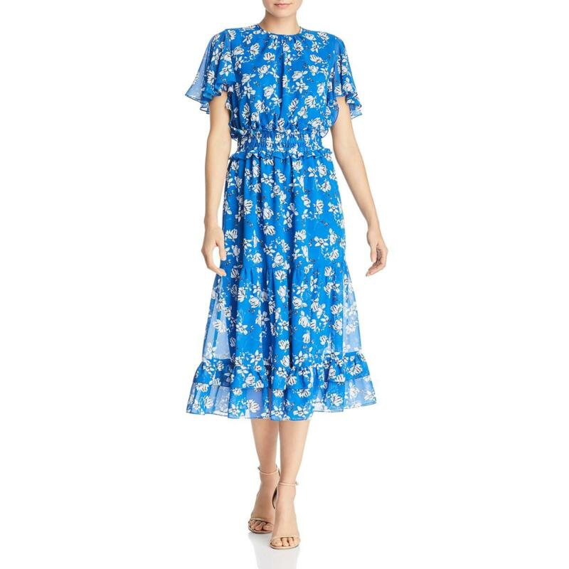 Shoshanna Womens Villa Floral Tie Neck Ruffled Midi Dress BHFO 9979