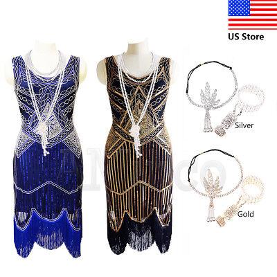 Roaring 20s Gowns (1920s Dress Vintage Roaring 20s Dresses Flapper Great Gatsby Fringe Tassels)
