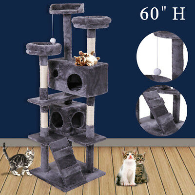 Cat Tree Tower Condo Furniture Scratching Post Pet Kitty Play House Gray 60""