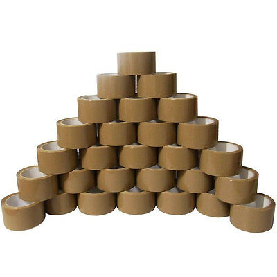 12 ROLLS OF BUFF BROWN PARCEL PACKING TAPE PACKAGING CARTON SEALING 48MM X 66M